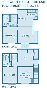 1,303 sq. ft. B5 floor plan