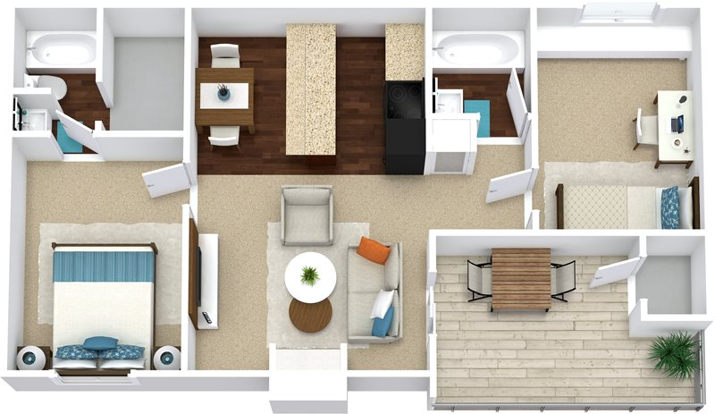 904 sq. ft. B1 floor plan