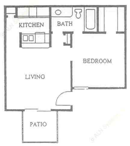 506 sq. ft. A1 floor plan