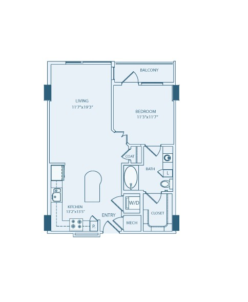 755 sq. ft. A3A floor plan
