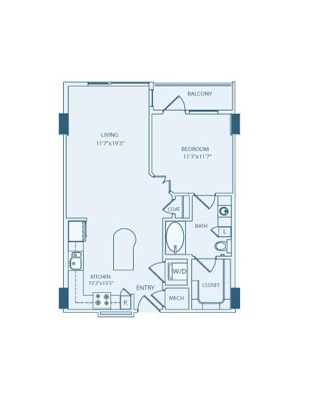 755 sq. ft. A3A floor plan
