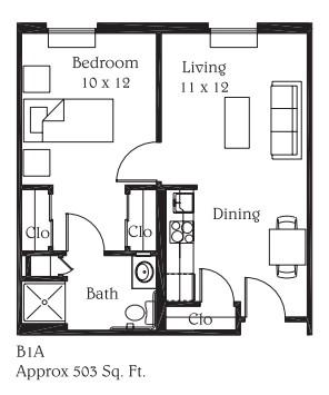 503 sq. ft. B4A floor plan