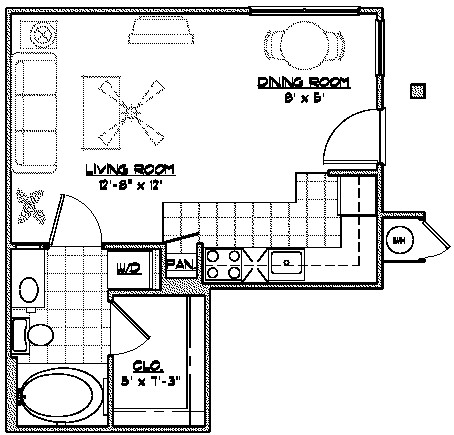 416 sq. ft. C4 floor plan