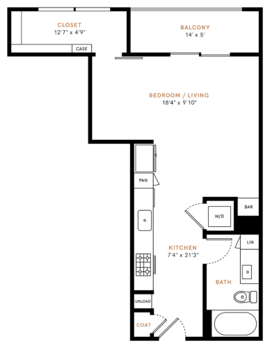 583 sq. ft. E1 floor plan