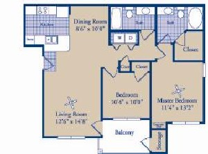 1,004 sq. ft. B2 floor plan