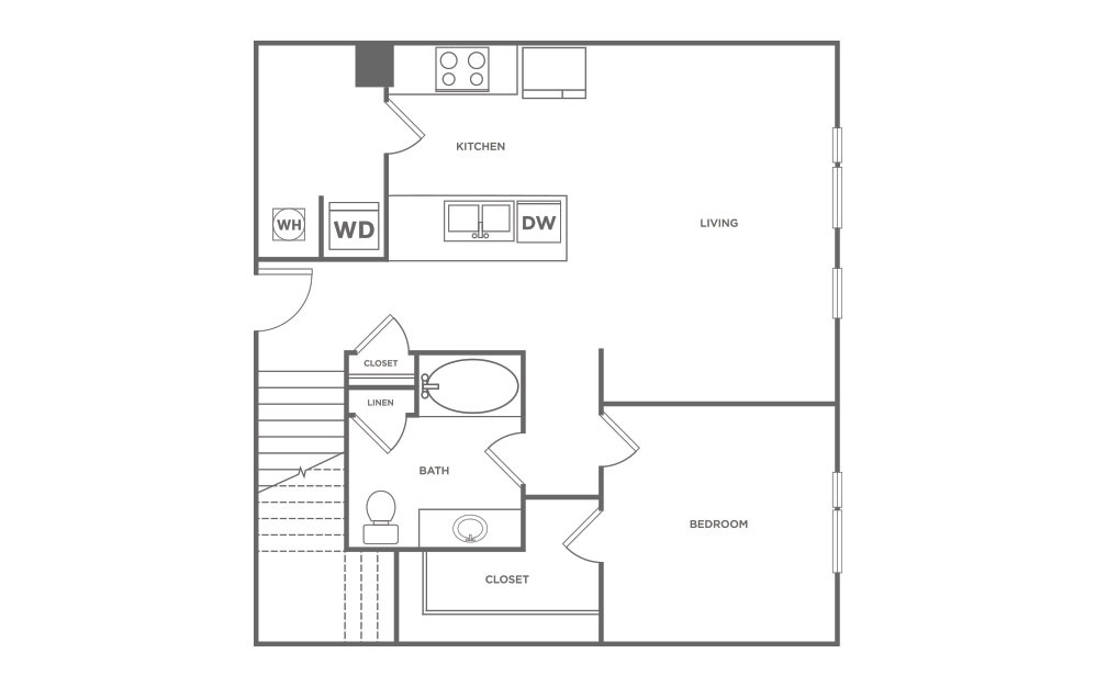 1,190 sq. ft. L4 floor plan