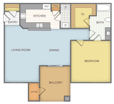 757 sq. ft. Shiloh - A2 floor plan