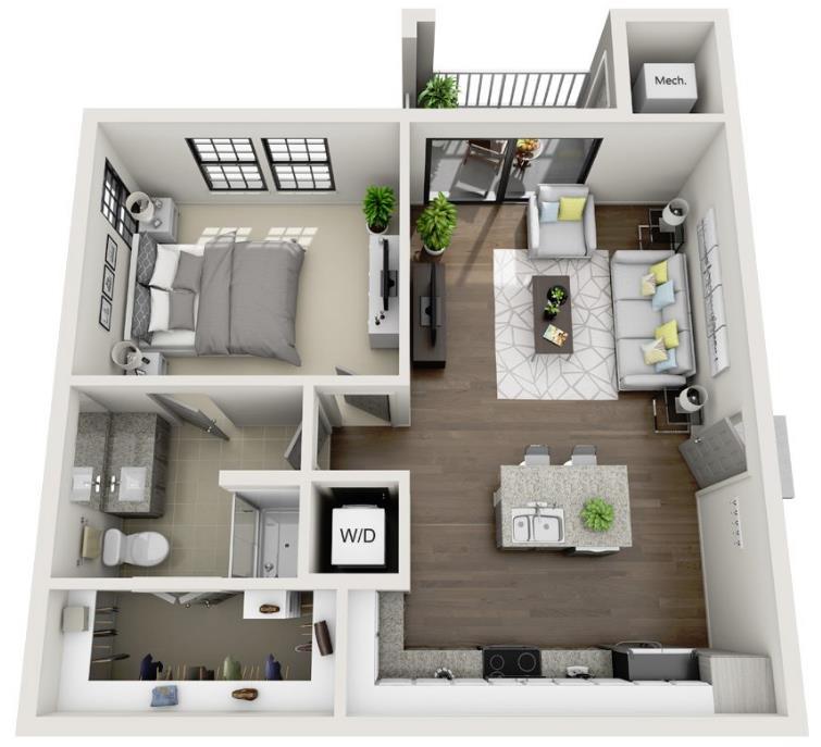 724 sq. ft. A3.1 floor plan