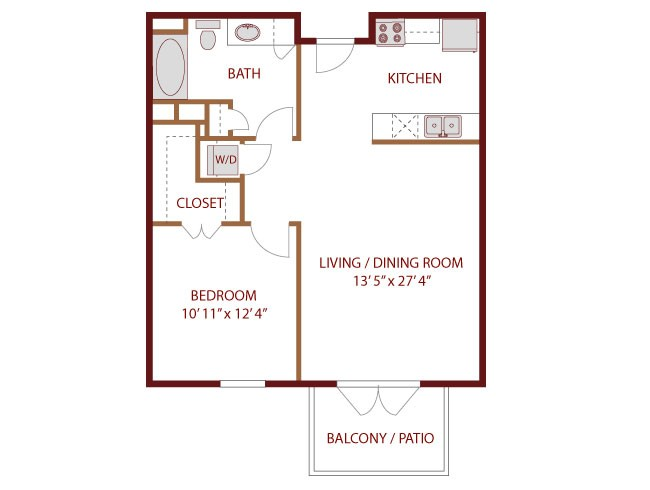 691 sq. ft. to 705 sq. ft. SABINE floor plan