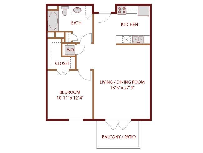 691 sq. ft. to 705 sq. ft. Sabine floor plan