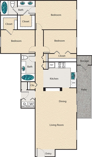 1,315 sq. ft. P - Westchester floor plan