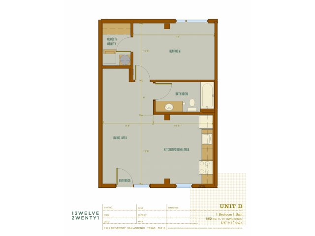 662 sq. ft. D floor plan
