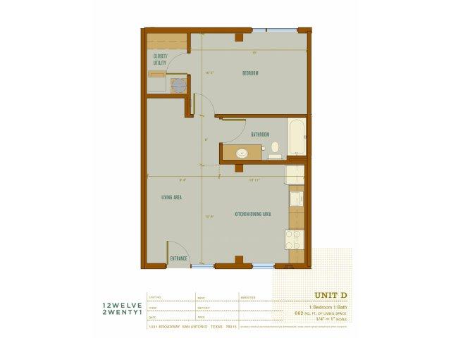 662 sq. ft. D floor plan