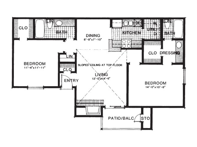 933 sq. ft. B1/UP floor plan