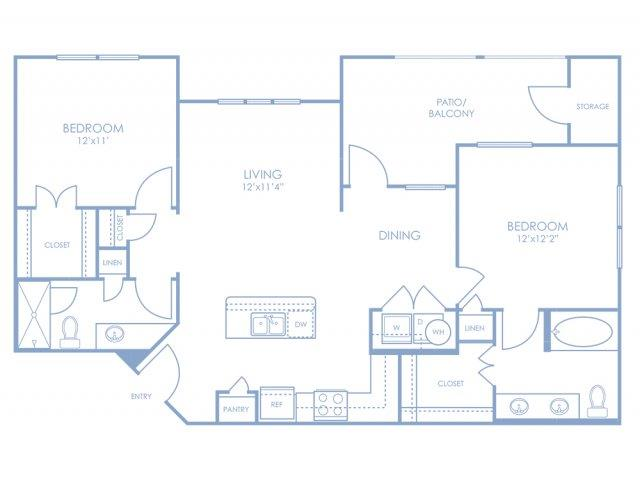 1,023 sq. ft. B2 floor plan