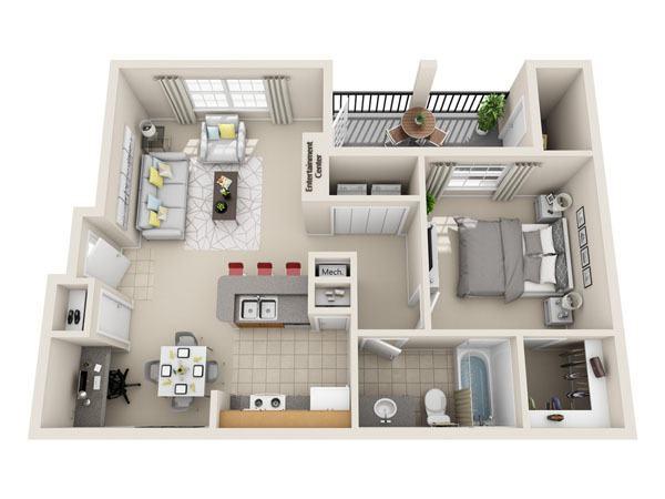 703 sq. ft. A1 floor plan