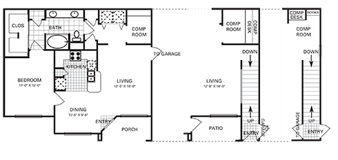 875 sq. ft. to 897 sq. ft. A6 PH II floor plan