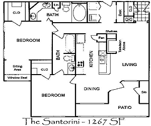 1,125 sq. ft. Santorini floor plan