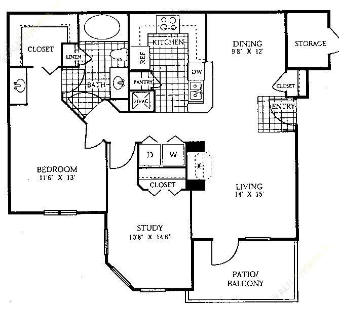 963 sq. ft. B1 floor plan