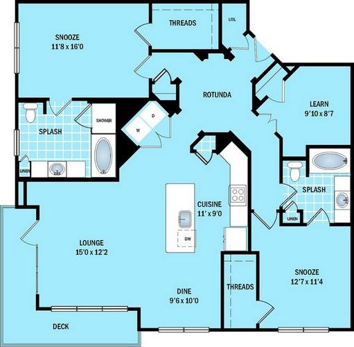 1,444 sq. ft. B4 floor plan