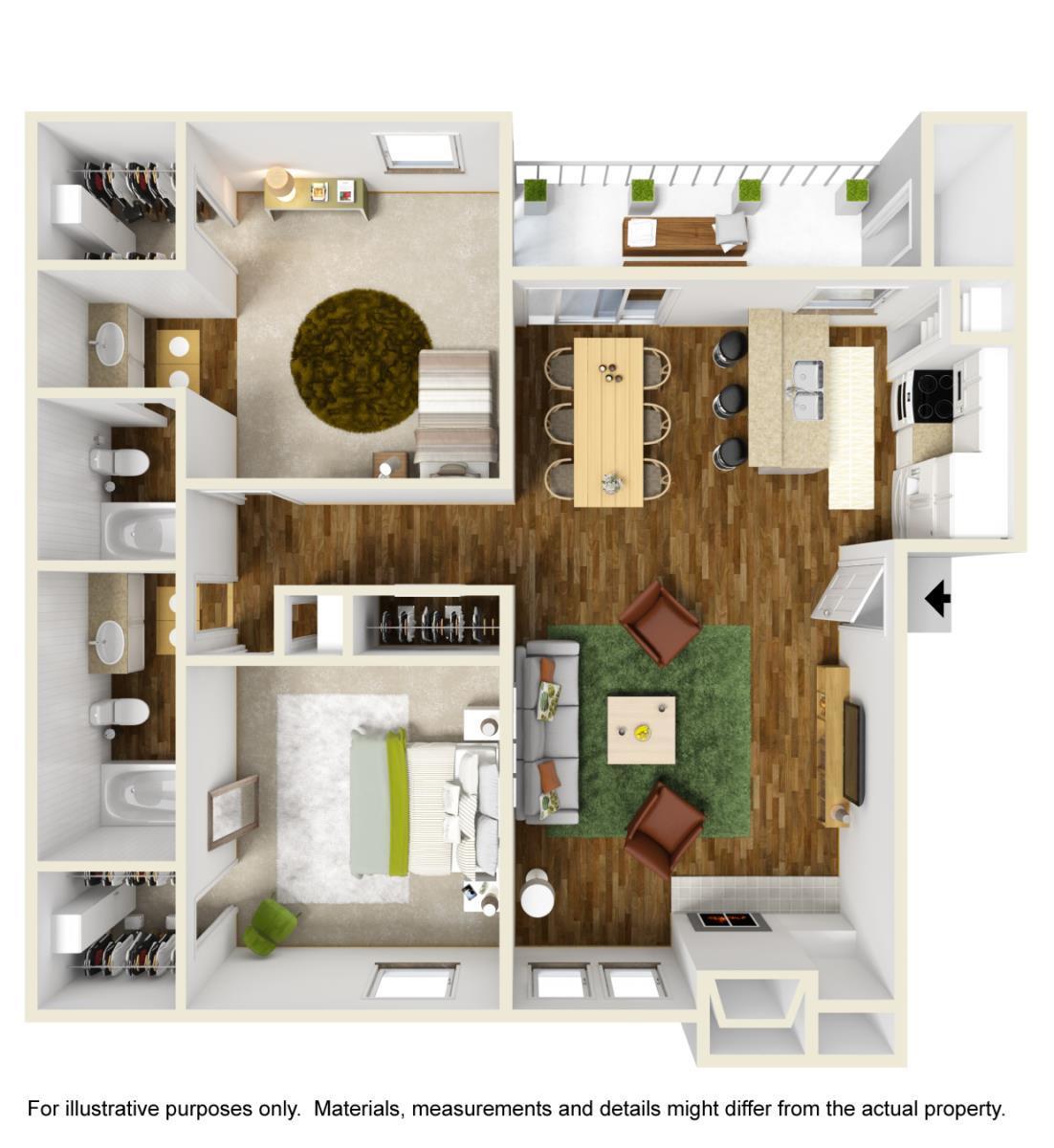 944 sq. ft. B-2 floor plan