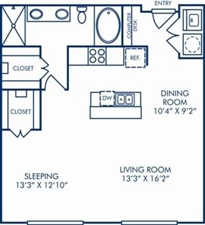 896 sq. ft. A6 floor plan