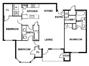 1,183 sq. ft. D/60% floor plan