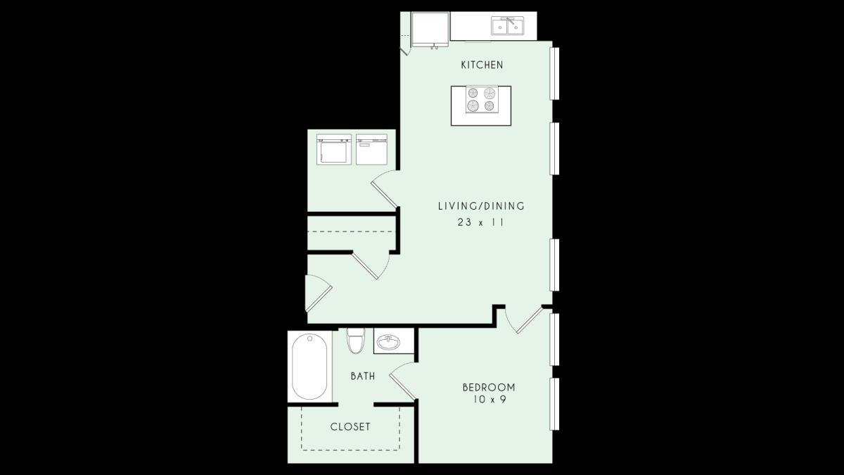 667 sq. ft. A03 MKT floor plan