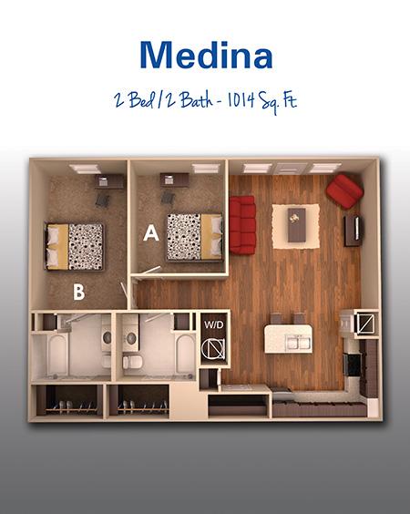 1,014 sq. ft. C floor plan