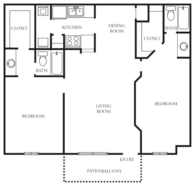 1,007 sq. ft. to 1,048 sq. ft. I floor plan