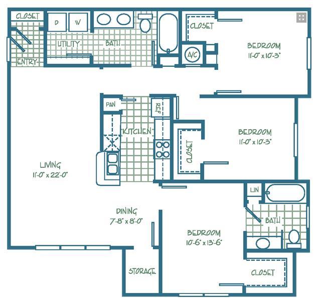 1,187 sq. ft. GROVEMKT floor plan