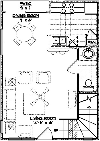 1,026 sq. ft. THA floor plan