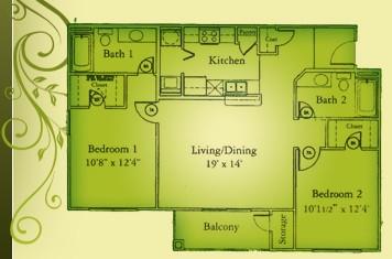 1,029 sq. ft. B2/60 floor plan