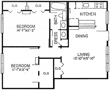 858 sq. ft. B1 floor plan