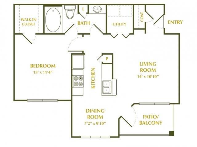 660 sq. ft. CAMILIA floor plan