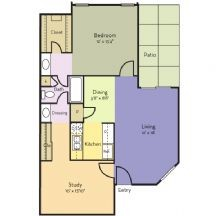 895 sq. ft. Rose floor plan