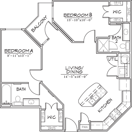 892 sq. ft. floor plan