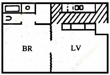 612 sq. ft. A floor plan