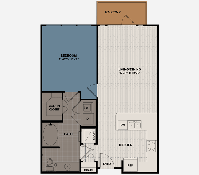 784 sq. ft. A3 floor plan