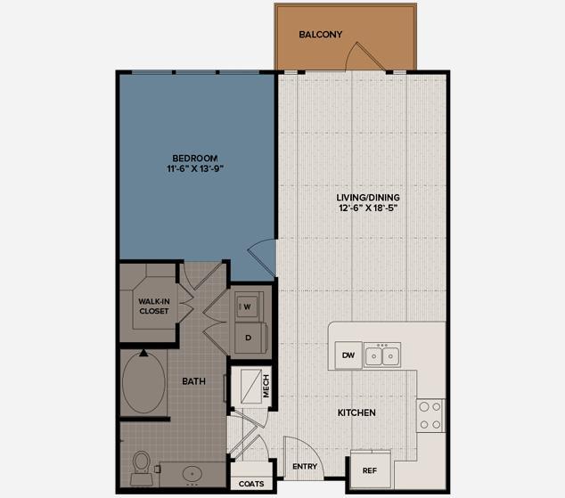 784 sq. ft. A3 floor plan