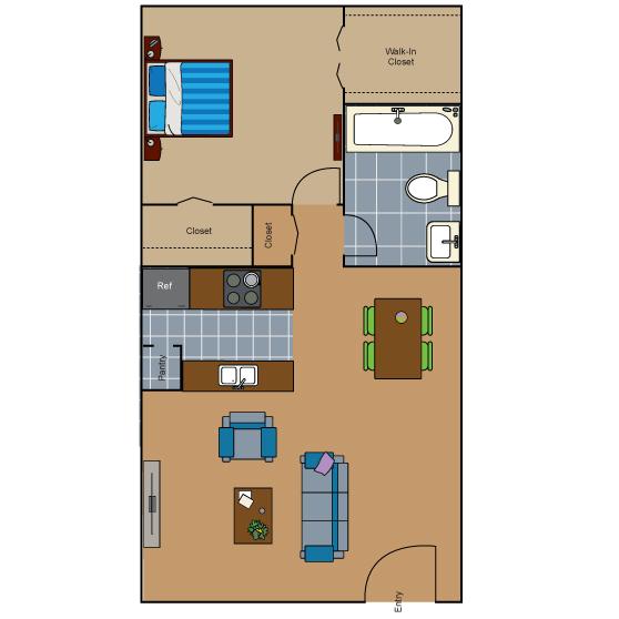 566 sq. ft. AD4 floor plan