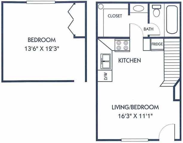 424 sq. ft. C2 floor plan