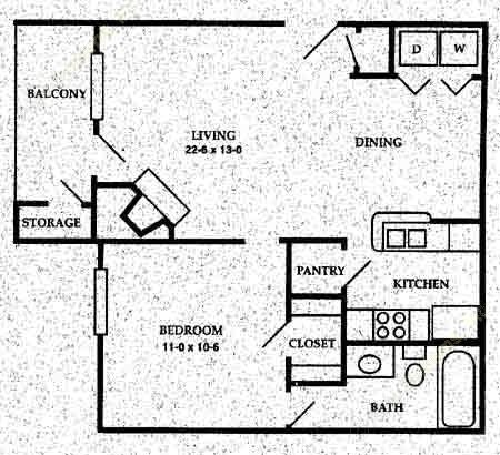 602 sq. ft. A4 floor plan