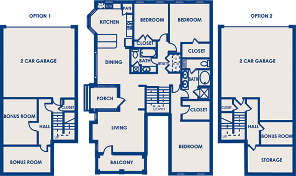 1,735 sq. ft. 32B floor plan