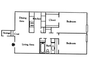881 sq. ft. C floor plan
