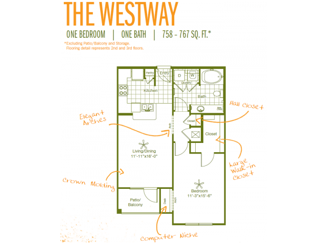 758 sq. ft. to 767 sq. ft. Westway floor plan
