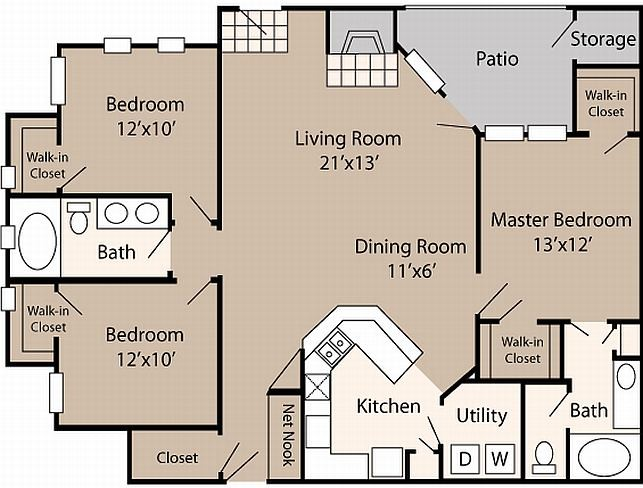 1,437 sq. ft. C2 floor plan