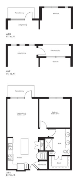 812 sq. ft. A3B Ansi floor plan