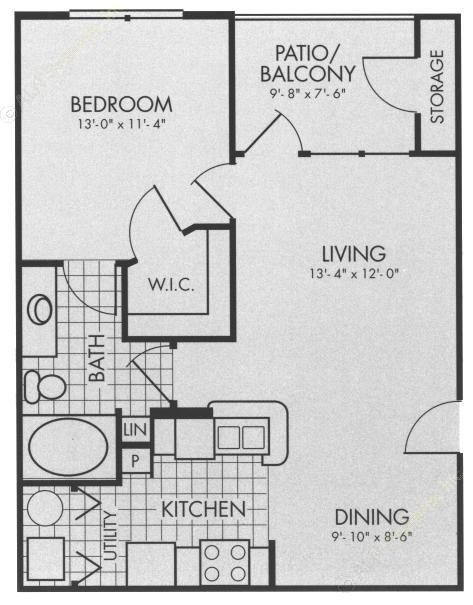 662 sq. ft. A2 floor plan