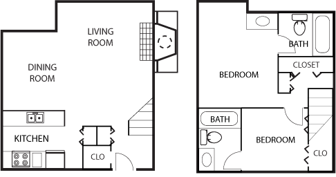 1,450 sq. ft. B4-50% floor plan